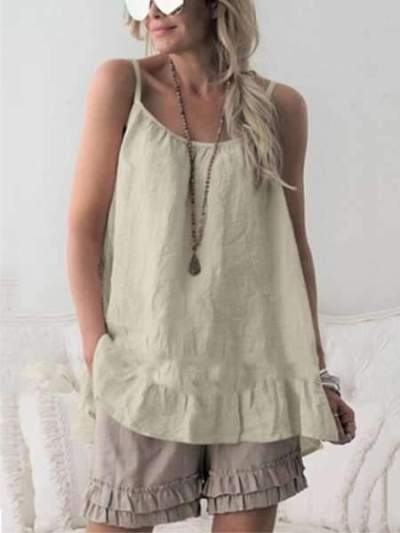 Fashion Pure Round neck Vest Falbala Shift Dresses