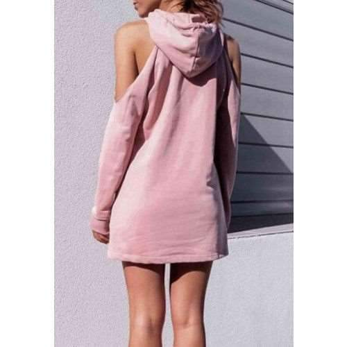 Fashion Word print Off shoulder Long sleeve Hoodies Sweatshirts