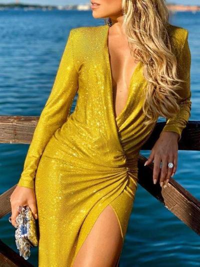 Sexy Pure Paillette V neck Long sleeve Vent Evening Dresses