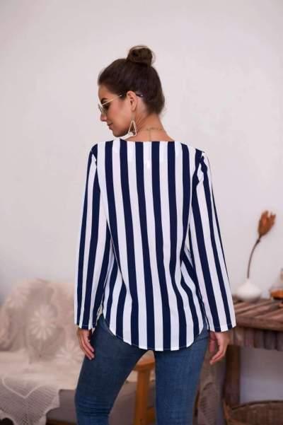 Fashion Stripe V neck Long sleeve T-Shirts