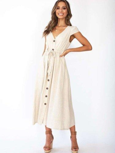 Fashion Pure V neck Short sleeve Fastener Maxi Dresses