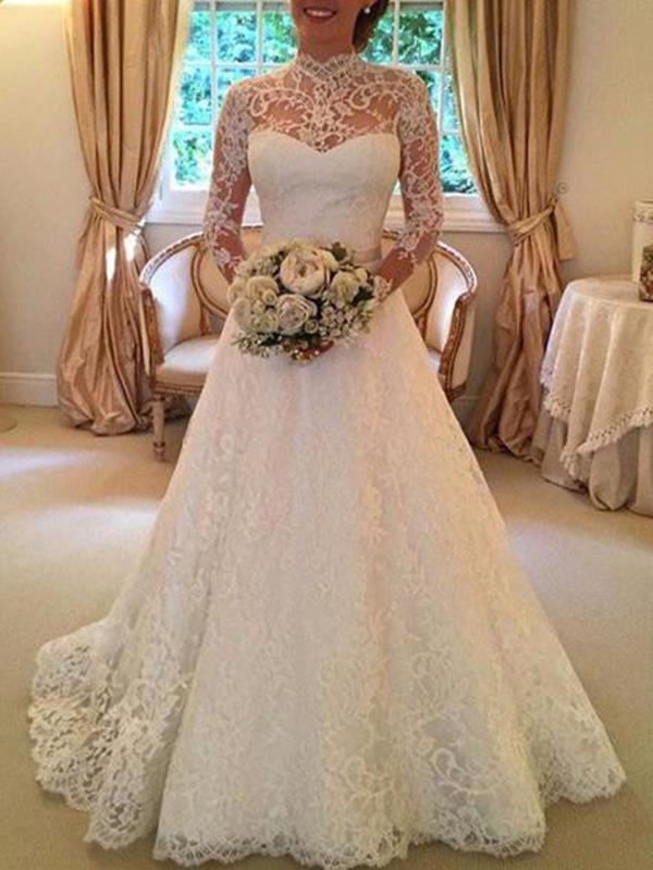 Elegant long sleeve high neck long evening white dresses