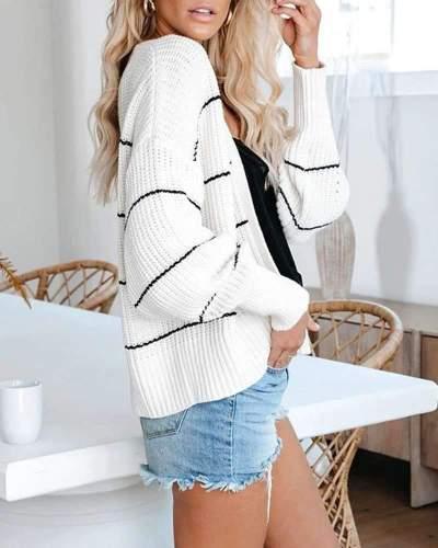 Fashion Casual Stripe Knir Long sleeve Cardigan
