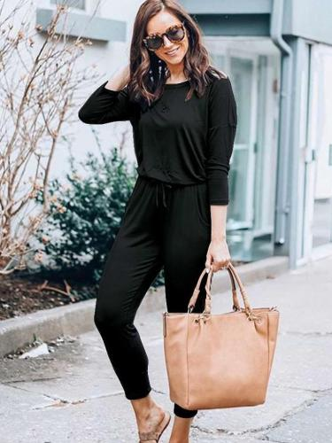 Sexy Round neck Long sleeve Lacing Jumpsuits