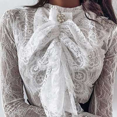 Sexy Lace Round neck Long sleeve T-Shirts