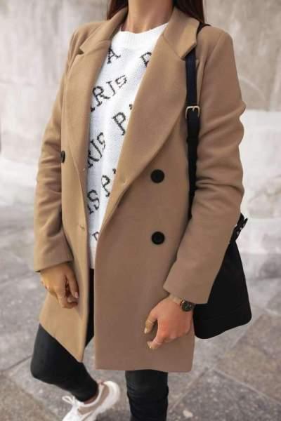 Pure Long sleeve Lapel Woolen Coat