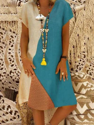 Color Block Short Sleeve Knee-Length A-line Shift Dress