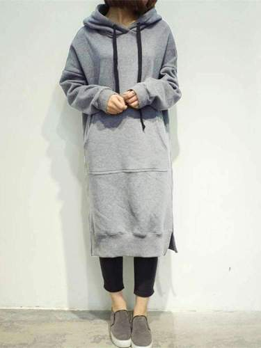 Fashion Casual Pure Long sleeve Hoodies Sweatshirts Maxi Dresses