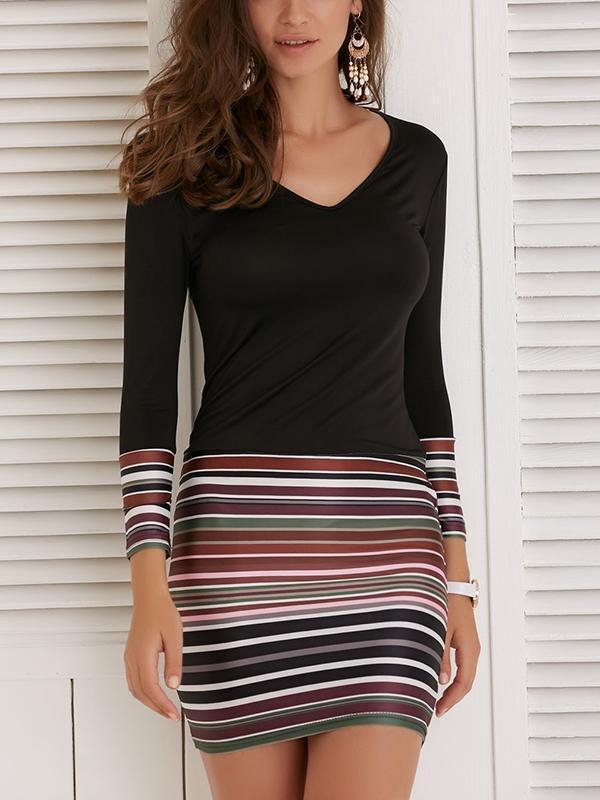Long Sleeve Colour Fringe Woman Bodycon Dresses