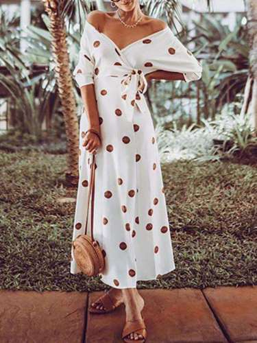 Polka-dot Off-the-shoulder Maxi Dress