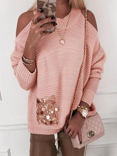 Round neck off shoulder women long sleeve sweaters