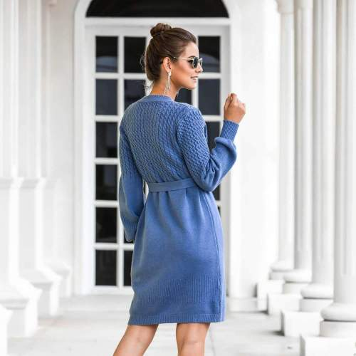 Fashion Pure Knit Gored Round neck Long sleeve Lacing Skater Dresses