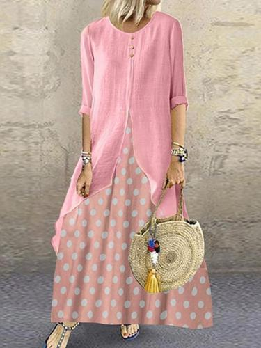 Women vintage dolka pot long sleeve maxi dresses