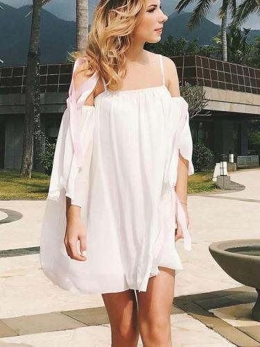Pure Off shoulder Vest Half sleeve Vacation Dresses