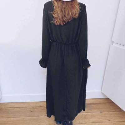 Fashion Pure Lace V neck Long sleeve Skater Maxi Dresses