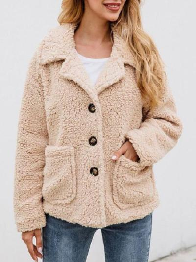 Turn down collar plush button lapel pocket coats