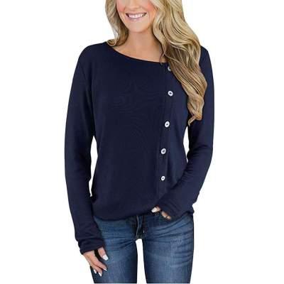 Fashion Pure Fastener Long sleeve Knit T-Shirts