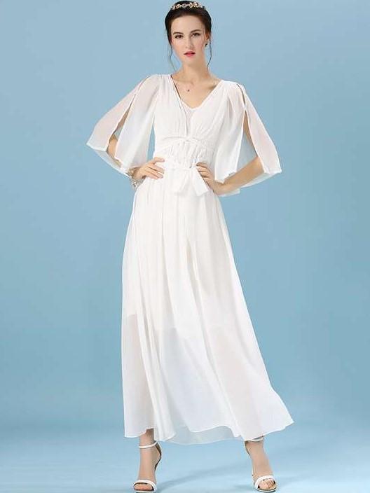 Fashion V neck Circular cape Evening Dresses