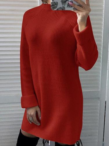 High Collar Plain Woman Long Shift Dress