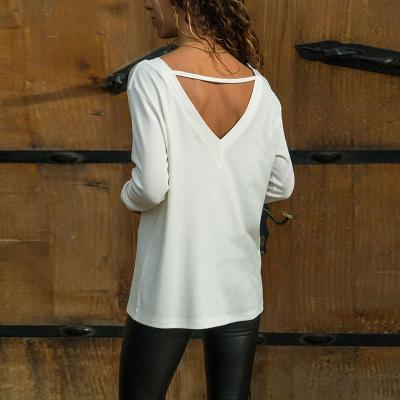 Lace Patchwork Deep V Neck Long Sleeve T-Shirts