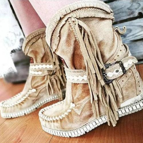 Round Toe suede tassels boots