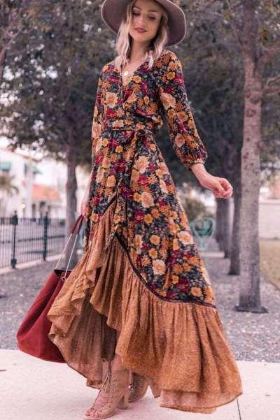Fashion Print Gored V neck Long sleeve Falbala Maxi Dresses