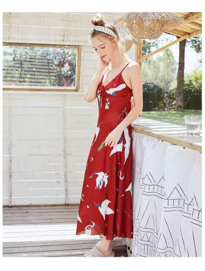 Sexy Print V neck Skater Dresses