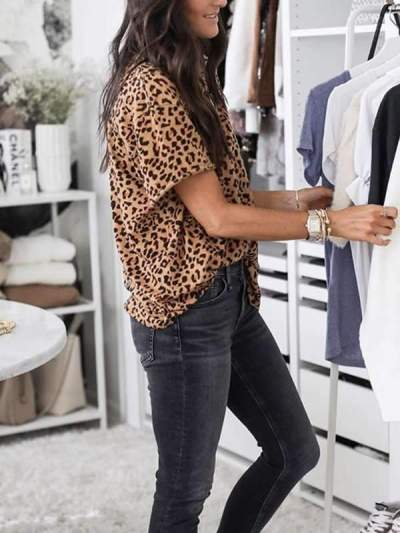 Summer leopard printed short sleeve T-shirts tops