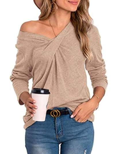 Women v neck fashion plain T-shirts
