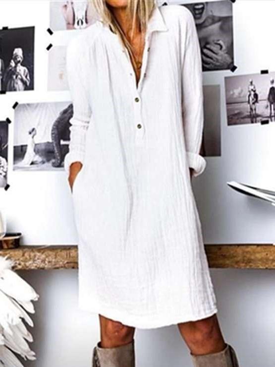 Casual Pure Lapel Long sleeve Shift Dresses