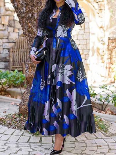 Fashion floral printed a-linen women long sleeve maxi dresses
