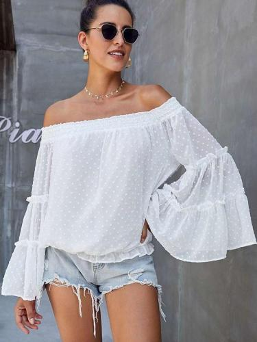 Fshion Loose Off shoulder Pure Mandarin sleeve T-Shirts