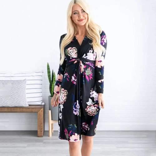 Casual Print V neck Long sleeve Skater Maxi Dresses