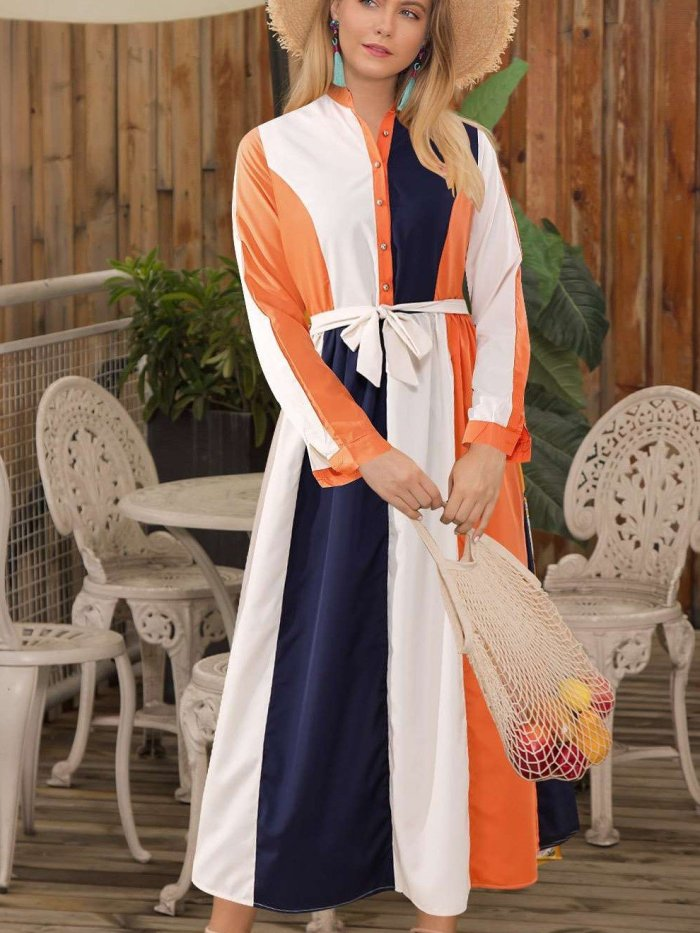 Fashion Stripe Stand collar Long sleeve Lacing Maxi Dresses