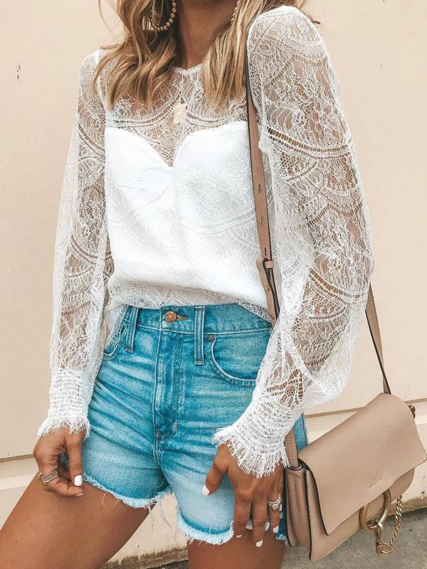 Round neck lace women stylish long sleeve blouses