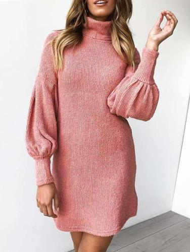 Fashion Pure Knit Puff sleeve High collar Bodycon Sweater Dresses