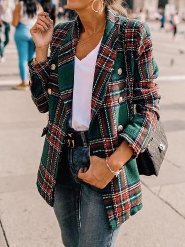 Fashion grid women turn down neck long sleeve blazers