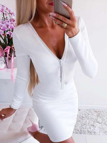 Sexy Pure Zipper V neck Long sleeve  Bodycon Dresses