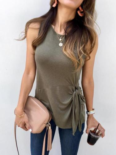Casual Plain Stylish sleeveless knotted T-shirt