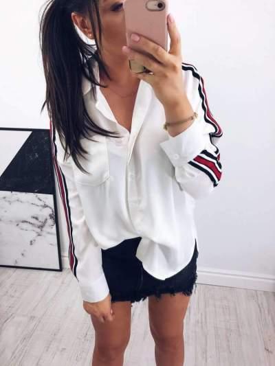 Fashion Plus Pocket Long sleeve Blouses