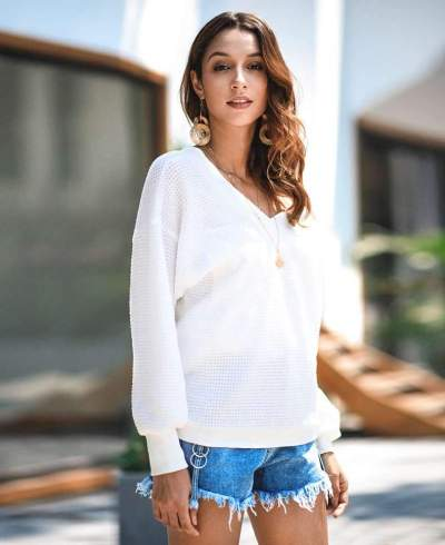 Knit Long sleeve V neck Sweaters