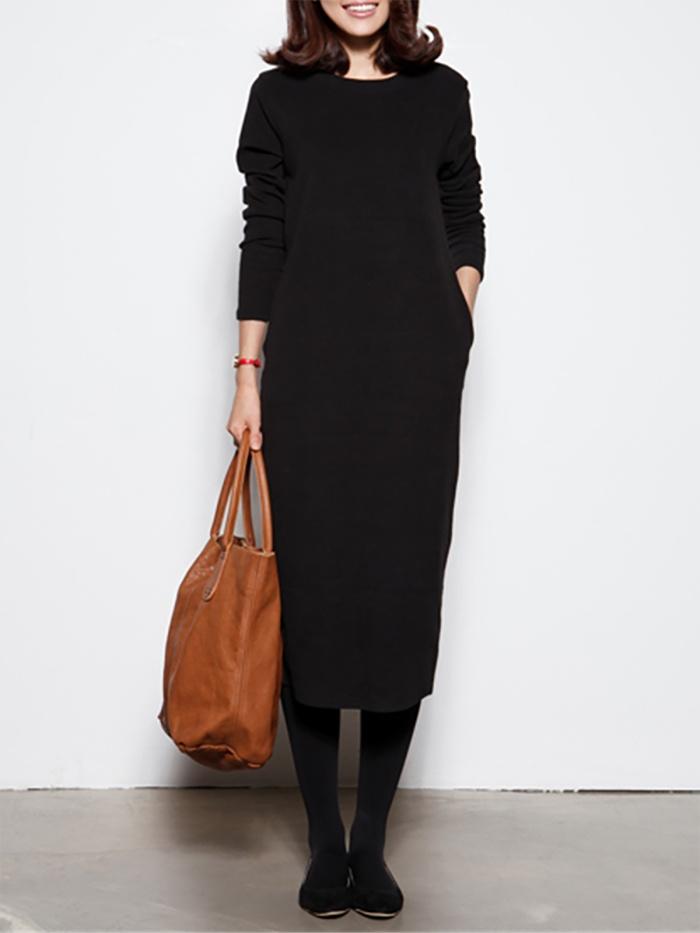 Solid Basic Shift Paneled Casual Dress