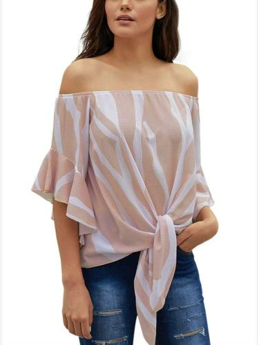 Off shoulder Flare sleeve Stripe Blouses