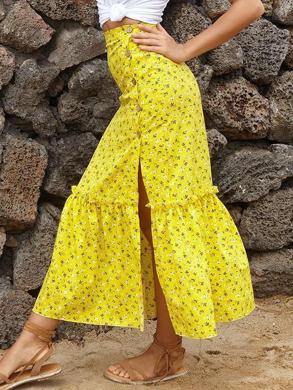 Fashion Print Vent Bodycon Skirts