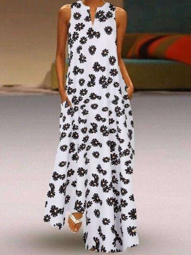 Fashion Casual Print V neck Sleeveless Maxi Dresses