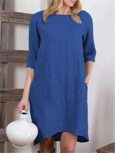 Fashion Casual Pure Round neck Half sleeve Shift Dresses