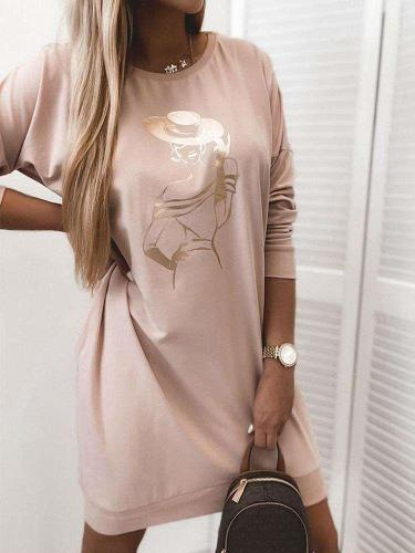 Fashion Print Round neck Long sleeve Shift Dresses