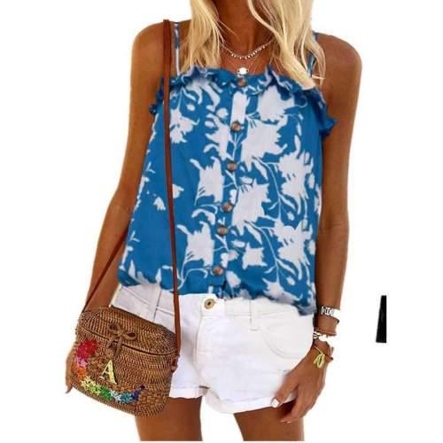 Fashion Sexy Print Stringy selvedge Vest Fastener T-Shirts