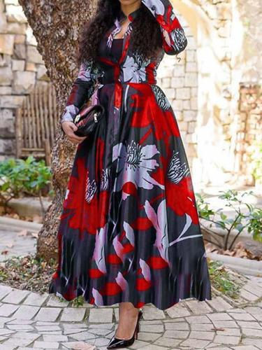 Fashion floral printed a-linen women long sleeve maxi dresses