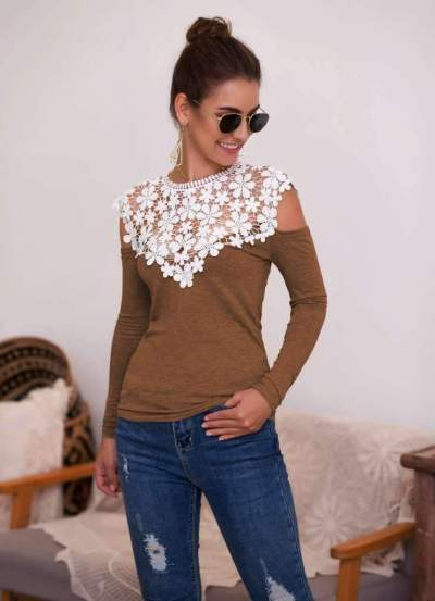 Sexy Lace Gored Long sleeve T-Shirts